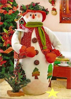 patron para elaborar bello nieve grande Felt Christmas Decorations, Christmas Fabric, Christmas Snowman, Handmade Christmas, Christmas Time, Christmas Ornaments, Holiday Crafts, Holiday Decor, Snowman Crafts