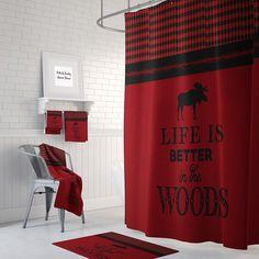 Red Bathroom Decor, Grey Bathrooms, Bathroom Ideas, Red Shower Curtains, Rustic Curtains, Lodge Decor, Buffalo Plaid, Rustic Style, Washing Clothes