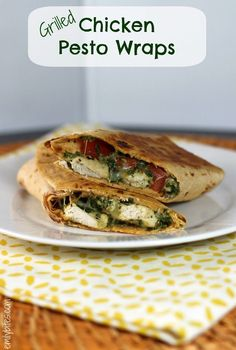 """Grilled Chicken Pesto Wraps » Emily Bites....I am going to try these with """"Paleo Wraps"""" that I just found in the store."""