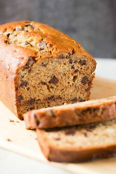 Peanut Butter-Banana Bread with Chocolate Chips #food #recipes