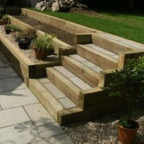 44 The Biggest Myth About Patio Garden Ideas Railway Sleepers Exposed 44 freeho. 44 The Biggest My Sloped Backyard Landscaping, Landscaping Retaining Walls, Sloped Garden, Terraced Landscaping, Terraced Backyard, Patio Steps, Garden Steps, Diy Patio, Garden Retaining Wall