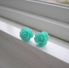 Tiffany Blue rose Earrings by TheTiffanyBlueShop on Etsy, $18.00