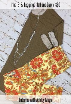 I am totally loving this small Irma for fall. It has a really cute faded chevron pattern on it so it can be worn as a solid but is great for the mom who is always getting something one her. It pairs beautifully with these TC paisley leggings and so many other items.   #LuLaRoe #LuLaRoeIrma #LuLaRoeTCLeggings #LuLaRoeTC #LuLaRoeLeggings #LuLaRoeOutfit #LuLaroeChevron #LuLaRoeFall #LuLaRoeAMags