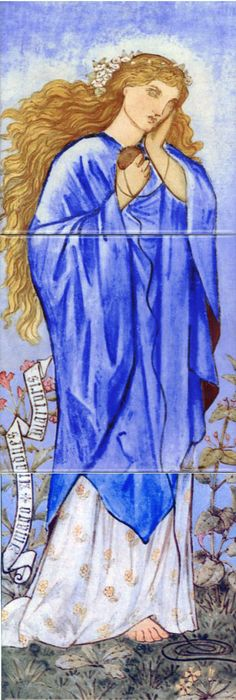 Ariadne and Phyllida  Characters from mythology were a popular subject for Morris and his PreRaphaelite contemporaries. Many of the Burne-Jones tile designs were later implemented as stained glass.