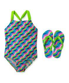 Look what I found on #zulily! Pink Candy Wave One-Piece & Flip-Flops - Girls by Jump'N Splash #zulilyfinds