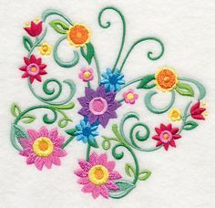 Embroidery Designs at Embroidery Library! - Color Change - -Machine Embroidery Designs at Embroidery Library! Sewing Machine Embroidery, Hand Embroidery Stitches, Free Machine Embroidery Designs, Cross Stitch Embroidery, Butterfly Embroidery, Paper Embroidery, Crewel Embroidery, Bordado Floral, Creations