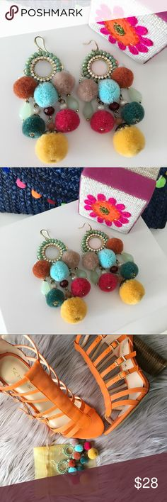 "✨NEWPom Pom Earrings ✨NEWPom Pom Earrings  Pom Pom Earrings Tiny Rhinestones  Closure: Fishhook   Measurements Length: 3""; width: 1.5"". Medium weight.   Bundle & Save!! 10% 2 items 15% 3+ items  No Trades MischkaPu Jewelry Earrings"