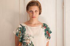 Silk top floral print shirt botanical tropical print summer top on Etsy, $128.00