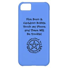 Blue with Black Pentacle Pagan Wiccan iphone 5c case by www.cheekywitch.com #zazzle #wicca #wiccan #pagan #witch #iphone #phonecase #iphonecase