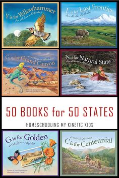 50 Books for 50 States- a book for every state in the union with Discover America book by book series. Great for road trips, libraries, schools, and lessons about the USA. North America Geography, Geography For Kids, Geography Lessons, Social Studies Notebook, Teaching Social Studies, Toddler Books, Childrens Books, Kid Books, History Education