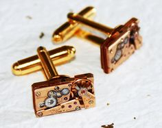 OMEGA Men Steampunk Cufflinks - Made with Authentic Omega vintage watch movmenets. Available at TimeInFantasy, $169.00