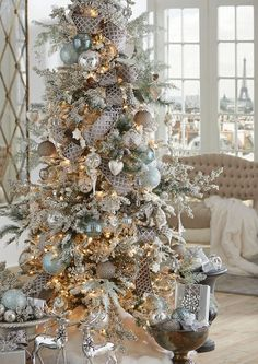 2019 RAZ Christmas Tree Inspiration Too early to start thinking about Christmas inspiration? Most people like to know what's coming down the pike so they can start planning early, pick Elegant Christmas Trees, Christmas In Paris, Ribbon On Christmas Tree, Christmas Tree Themes, Christmas Holidays, Holiday Decorations, Christmas Mantles, Christmas Villages, Pink Christmas
