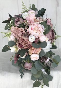 Bridal Bouquet Dusty Rose Bridal Bouquet Bouquet of Flowers Blush Wedding Bouquet Mauve / Dusty Rose Wedding Flowers Silk Bridal Bouquet Hochzeit Cascading Bridal Bouquets, Silk Bridal Bouquet, Blush Bouquet, Cascade Bouquet, Blush Roses, Bridesmaid Bouquets, Bouquet Wedding, Rose Mauve, Wedding Ceremony