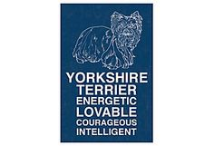 "Yorkshire Terrier - A dog sign in the vintage style. Printed on gallery-wrapped canvas, this work is ready to hang. Made in the USA.  Printed on canvas/stretched on wood frame.  (20"" x 30"" $159.00/27"" x 40"" $210.00)"