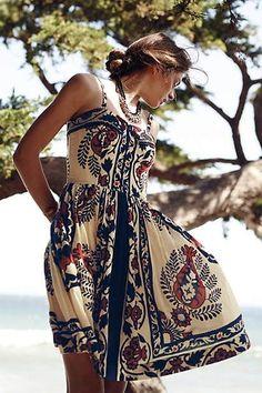 Boho dress Bohemian summer spaghetti strap sexy beach dress mini slim cute casual above knee mini fit Fit Flare Dress, Fit And Flare, Afro, Mode Boho, Vintage Mode, Vintage Style, Cotton Dresses, Women's Dresses, Boho Dress