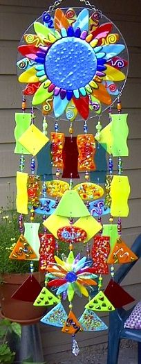 Wind chimes- decorated plate, drilled holes on edges, (would need to hang lightweight pieces)