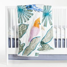 Organic Tropical Bird Baby Bedding | Crate and Barrel