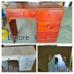 Darling Desk Redo....A little elbow grease & love turned this worn desk into a thing of beauty. Use as a desk or vanity.