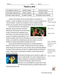 "Spanish reading: Reflexive verb vocab practice ""Tarzan y Jane"""