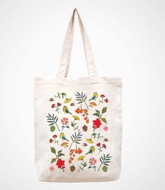 Floral Tote Bags, Cotton Tote Bags, Reusable Tote Bags, Bag Women, Painted Bags, Retro Party, Flower Embroidery Designs, Jewelry For Her, Cute Crafts
