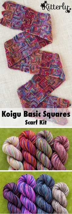 The Basic Squares Scarf is a great small project on which to learn the modular knitting technique. #kitterlykits
