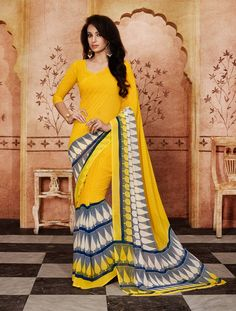 Yellow Georgette Printed Saree With Blouse 59841