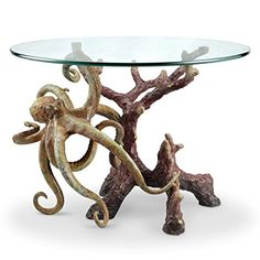 Octopus Glass Top Coffee Table Hand Painted Brass Base #affiliate