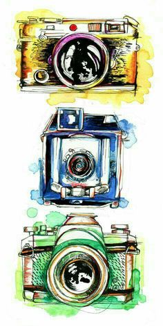 I love seeing these little old devices in collections and antique shops. They al… I love seeing these little old devices in collections and antique shops. They all have so much personality. Camera Drawing, Camera Art, Camera Painting, Love Drawings, Art Drawings, Kamera Tattoos, Photo Pop Art, Illustration Mode, Camera Illustration