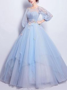 Flower Fairy Prom Dress Sky Blue Tulle Occasion by PrettyLady on Blumenfee Abendkleid Himmelblau Tüll Anlass von PrettyLady auf Evening Dresses With Sleeves, Blue Evening Dresses, Blue Wedding Dresses, Beautiful Prom Dresses, Black Prom Dresses, Elegant Dresses, Evening Gowns, Wedding Blue, Gown Wedding