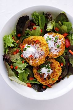 cauliflower chickpea patties ***Sue's note: these were excellent!! I served them on a mixed greens salad as the picture shows. Not only did were they fantastic, it was a filling meal and the presentation was just as nice as the one pictured here!