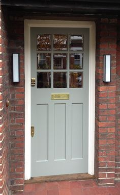 An elegant and effortless 1930's door in Farrow & Ball Pigeon no. 25 Exterior Eggshell, south London. Love this colour!