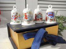 4 Glocken Porzellan Weihnachtsglocke Ahornblatt B