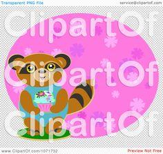 Clipart Birthday Raccoon Holdinga Cupcake - Royalty Free Vector Illustration by bpearth