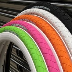 neon bike tires----If only I had a PINK bike!