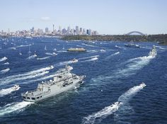 National and international warships enter Sydney Harbour for the IFR. - ♒ www.pinterest.com/WhoLoves/International-Fleet-Review-2013 ♒  #FleetReview2013