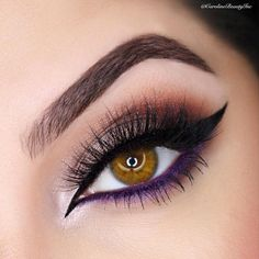 """""""Love the double tip winged liner and the purple smoked out liner for that perfect """"finish""""  so beautiful  @carolinebeautyinc @carolinebeautyinc…"""""""