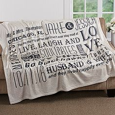 LOVE this anniversary gift idea! It\'s a personalized blanket that you can add all of the most important dates, places, inside jokes, and whatever you want! It comes in 4 colors, too! So cute!!!