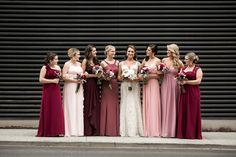 Modern Downtown Nashville Wedding Long Chiffon Bridesmaid Dresses in Pink {Nyk + Cali, Wedding Photography} Red Bridesmaids, Davids Bridal Bridesmaid Dresses, Mismatched Bridesmaid Dresses, Burgundy Bridesmaid Dresses, Bridal Dresses, Chiffon Dresses, Bridesmaid Makeup, Mauve Wedding, Red Wedding