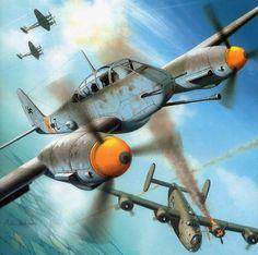 Me-410 downing a B-24