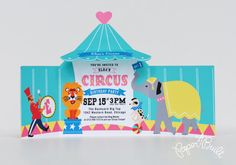 Circus Tent Invitation - Printable Circus Invite, Carnival Invitation, Circus Birthday, Circus Shower, Girlie Shower, Girl - Printable PDF By Paper Built