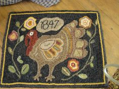 Turkey Hooked Rug  I hooked a rug from this pattern-also- fun  every family has a turkey>mine was hooked..!
