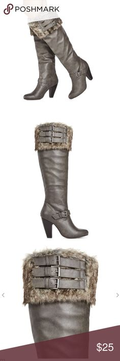 JustFab Maliah fur cuff boots Brand new in box, excellent quality and beautiful detail and fit! JustFab Shoes Heeled Boots