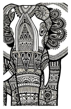 free coloring page coloring elephant te print for free a magnificien elephant drawn with zentangle patterns from coloring pages for adults - Free Elephant Coloring Pages