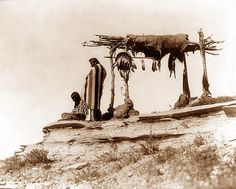 Indian Burial  You are viewing an original photograph of an Indian Burial. The photo is by Roland W. Reed, and was taken in 1912. The picture shows two Indians beside burial platform.