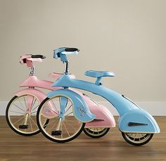 Sky King reproduction tricycles (based on a timeless design from 1936) [from restoration Hardware] (found here: http://www.chronicallyvintage.com/2009_12_01_archive.html)