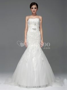 [US$278.00] Allover Lace Mermaid Wedding Dress with Tulle Sash