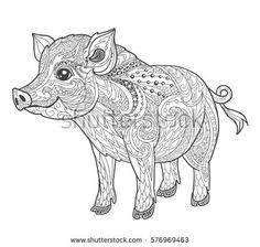 Adult Coloring Page Book A Pig Zen Art Style Pigs Pinterest