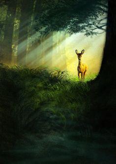 """Jeremy Norton Illustration - """"Startled Deer"""""""
