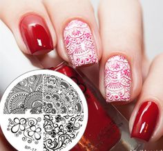Elegant Flower Nail Art Stamp Template BP17 # 17262