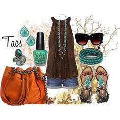 Taos~easy top with denim, embellished sandals, turquoise accents and a great bag!